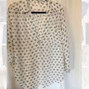 Sheet Tunic Blouse with black geometric pattern